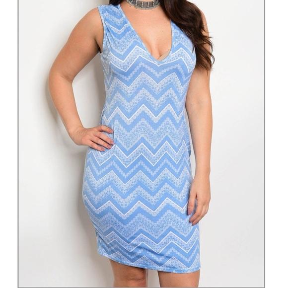 Plus Size - Baby Blue & White Chevron Dress Boutique